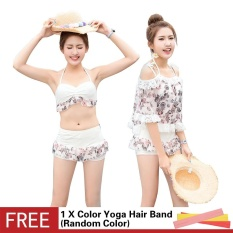 Women's Floral Print Underwire dengan Padded Bikini Tiga Potong Set Swimsuit Chiffon Lace Stitching Blus Cover-up Split Swimwear-Intl