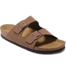 Wanita untuk Birkenstock ARIZONA Veloursleder Weichbettung Flat Sandal Ukuran 35-41 Sandal (Coklat Muda)-Intl