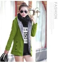 Wanita Bertudung Musim Dingin Sweater Jaket Mantel Hangat Katun Hoodie Bulu Mantel Pakaian Luar Jaket Parka Trench Mantel-Internasional