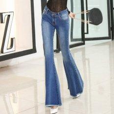 Women S Mid Peninggi Penuh Reguler Panjang Flare Pants Retro Jeans Dengan Ripped Intl Terbaru