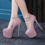 Harga Women S Peep Toe Platform Sandal Pesta Mewah High Heels Ungu Intl New