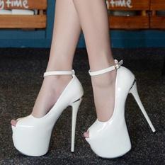 Spesifikasi Women S Peep Toe Platform Sandal Mewah Partai Tinggi Tumit Putih Baru