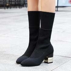 Wanita Menunjuk Toe Hak Square Pendek Boots Partai Jepang Winter Boots Black-Intl