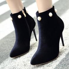 Wanita Menunjuk Toe Stiletto Ankle Boots Jepang Partai Sepatu Hak Tinggi dengan Berlian Imitasi-Internasional