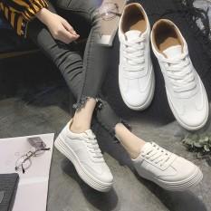 Wanita Kulit Putih Murni Lace-up Shoes Female untuk Kegiatan Outdoor Tebal Bawah Sepatu Siswa Snekers-Intl