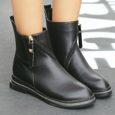 Wanita Round Toe Chunky Heel Ankle Boots Jepang Casual BOOT BOOT dengan Jaringan-Intl