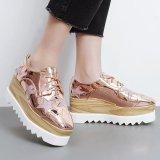 Diskon Wanita S Square Toe Wedge Sepatu Korea Casual Loafers Dengan Glitter Pink Intl