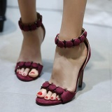 Spesifikasi Wanita Stiletto Buka Toe Sandal S*xy Pesta Plus Ukuran Sepatu Hak Tinggi Merah Marun Internasional Yg Baik