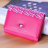 Beli Dompet Wanita Embossed Love 3 Lipat Kecil Shorts Dompet Kartu Paket Hot Pink Intl Online Terpercaya