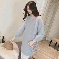 Jual Wanita Wol Knit Lengan Panjang Mohair Long Sweater Dress Intl Lengkap