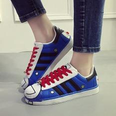 Beli Wanita S Originals Superstar Sneaker Skater Sepatu Fashion Wanita Bernapas Cat Doraemon Kasual Sepatu Biru Cicilan