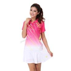 Wanita's Bulutangkis Kemeja Tenis Olahraga Pakaian Ping Pong Jersey dengan Rok (Merah Muda)-Intl Hengsong
