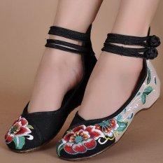 Womens Bridal Casual Balet Sandal Datar Bunga Bersulam Sepatu Mary Jane Pump Black-Intl