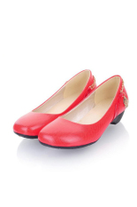 Warna Candy Wanita Kulit Ular Rantai Logam Round Toe Sepatu Rendah Tumit Sepatu (Merah)-Intl