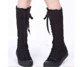 Womens Kanvas Lace Up Knee High Boots Sneakers Sepatu Casual Not Specified Diskon