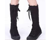 Beli Womens Kanvas Lace Up Knee High Boots Sneakers Sepatu Casual Baru