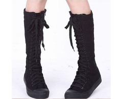 Jual Womens Kanvas Lace Up Knee High Boots Sneakers Sepatu Casual Online