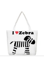Womens Kartun Dicetak Canvas Shoulder Bag (Zebra)