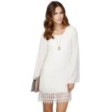 Beli Sutera Kain Tipis Wanita Renda Gaun Mini Longgar Ehem Suara Yang Lebih Baik Putih Terbaru