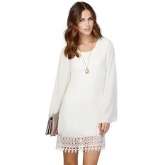 Harga Sutera Kain Tipis Wanita Renda Gaun Mini Longgar Ehem Suara Yang Lebih Baik Putih New