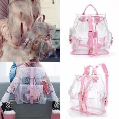 Women's Clear Plastic Lihat Melalui Keamanan Transparan Backpack Bag Travel Bag-Intl
