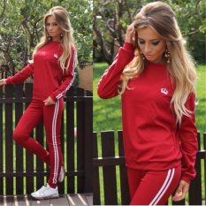 Womens Crown 2 PCS Long Sleeve Top Sports Tracksuits Sportwear (Red) - intl