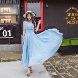Spesifikasi Wanita Gaya Lucu Bohemian Pakaian 2017 New Musim Panas Fashion Long Slim Tanpa Lengan Solid Pantai Gaun Sky Blue Intl Lengkap