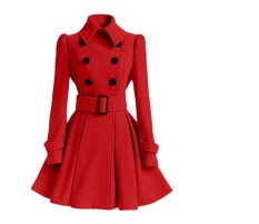 Womens Double Breasted Wol Mantel Musim Dingin Hangat Gaun Mantel Tahan Dr Merah Intl Tiongkok