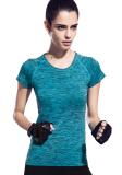 Ulasan Wanita Dri Fit Langsing Olahraga Tee Atas Lengan Bang Pendek Kaos Kerah Bulat Biru Fy 1526