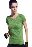 Promo Wanita Dri Fit Langsing Olahraga Tee Atas Lengan Bang Pendek Kaos Kerah Bulat Hijau Fy 1526 Honour Fashion