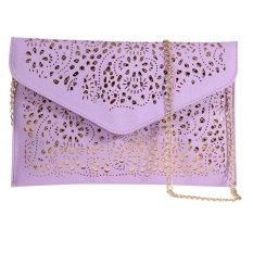 Model Amplop Wanita Foil Floral Tas Tangan Wanita Dompet Bahu Tas untuk Acara Di Malam Hari (Ungu)-Intl