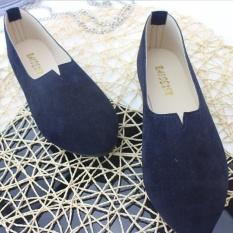 Wanita Fashion Flats Sandal Permen Warna OL Formal Perawat Bisnis Ballerina Sepatu Kasual D139 Dark Blue-Intl