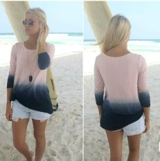 Spesifikasi Wanita S Fashion Gradient O Leher Lengan Panjang T Shirt Top Shirt Blus Ladies Lengan Panjang O Neck Tops Bottoming Pakaian Brown Intl Yang Bagus