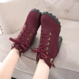 Spesifikasi Womens Fashion Tinggi Tumit Renda Up Ankle Boots Ladies Buckle Platform Sepatu Murah Berkualitas