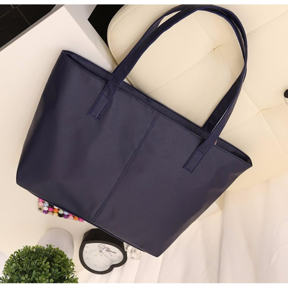 Women s Fashion PU Leather Tote Bag  99Handbags Shoulder Bags Tas Wanita  Kulit - NAVY aefe5f3ec8