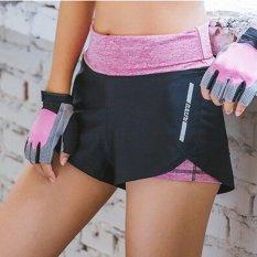 Womens Fitness Yoga High Waist Shorts Fake Dua Buah Sport Menjalankan Baju Olahraga Ramping Pendek 2 Macam Metode Keausan Pink- INTL