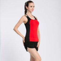 Wanita Fitness Yoga Top Shirt Fitness Pakaian Latihan untuk Wanita Anti-Sweat Gym Menjalankan Kemeja Olahraga Tank Vest (merah) -Intl