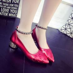Jual Women S High Heel Menunjuk Toe Pergelangan Kaki Tali Pesta Busana Casual Sandal Sepatu Merah Termurah