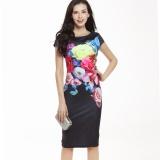 Toko Womens Kualitas Tinggi Elegan Bunga Floral Printed Ruched Cap Lengan Ruffle Casual Bridesmaid Ibu Mempelai Wanita Pesta Malam Hari Hitam Intl Online Terpercaya