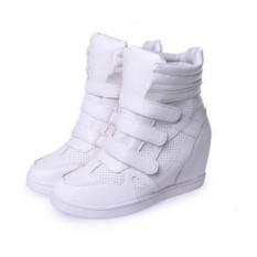 Spesifikasi Womens High Top Tersembunyi Wedge Sneakers Lace Up Sepatu Kasual Velcro Ankle Boots Bagus