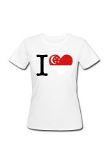 Wanita I Love Singapore Menyesuaikan T-Shirt untuk Putih