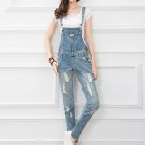 Harga Termurah Wanita Jeans Strap Hole Biru Muda