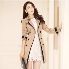 Wanita Korean Casual Double-Breasted Jas Hujan Mantel Ladies Fashion All-Match Coats Jaket Pakaian-Khaki-Intl