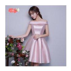 Wanita Lace Form Pesta Cocktail Gaun Pengiring Pengantin Mini Dress (Pink-C)-Intl