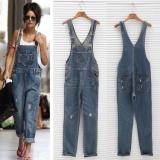 Jual Womens Ladies Baggy Denim Jeans Full Length Pinafore Dungaree Overall Jumpsuit Intl Online Di Tiongkok