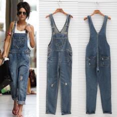 Womens Ladies Baggy Denim Jeans Full Length Pinafore Dungaree Overall Jumpsuit Intl Oem Murah Di Tiongkok