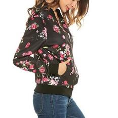 Harga Womens Ladies Flower Print Leisure Olahraga Zipper Up Bomber Jacket Lengan Yang Longgar Intl Online