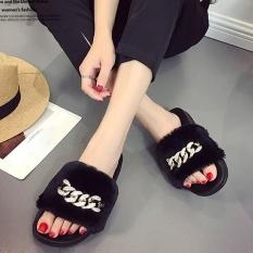 Spesifikasi Womens Wanita Slip Pada Slider Fluffy Faux Fur Flat Slipper Flip Flop Sandal Intl Yg Baik