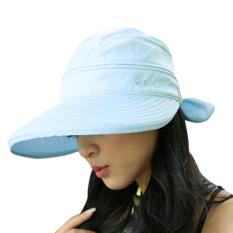 Wanita Topi Musim Panas Lipat Anti UV Golf Tenis Penutup Cahaya Matahari Topi Topi Pantai Biru Langit