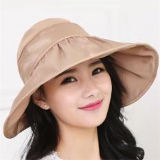 Cuci Gudang Womens Light Foldable Roll Up Wide Brim Anti Uv Waterproof Sun Hat Visor Cap Khaki Intl